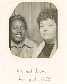 Retro interracial lesbian couple