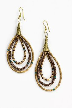 Grecian Goddess Earrings (Handmade in India) - $10.00 http://workofworth.org/products/grecian-goddess-bronze-chocolate-teal-earrings