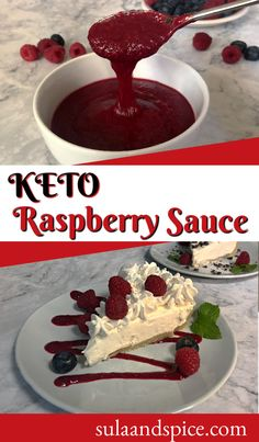 Only 2 ingredients needed to make this easy low carb raspberry sauce. Sugar free and keto friendly! Easy, quick, no bake. Add to keto desserts. #easyketodesserts #quickketodessert #easyketoraspberrysauce #ketoraspberrysaucewithjam