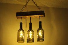 DIY mini wine bottle chandelier