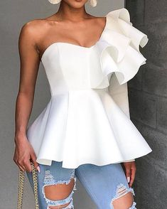 One Shoulder Zipper Up Peplum Ruffled Tops - Chic Dresses Peplum, Blouse Styles, Ruffle Top, White Long Sleeve, Dress Brands, Shirt Blouses, Trendy Outfits, Blouses For Women, Fashion Clothes