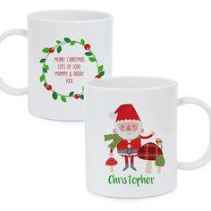 Personalised Plastic Mug - Christmas Toadstool and Santa Personalized Christmas Mugs, Personalized Mugs, Plastic Mugs, Merry Christmas, Xmas, Santa, Messages, Merry Little Christmas, Yule