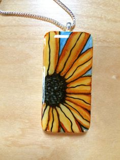 Hand Painted Alcohol Ink Domino Pendant with by IcedPlumArtStudio