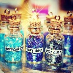 Mermaid scales, fairy dust, and star dust. This would be a good idea for a little girl's birthday party.