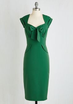 Posh Prodigy Dress by Stop Staring! - Green, Solid, Bows, Pinup, Vintage Inspired, 40s, 50s, Sheath, Short Sleeves, Woven, Best, Long, Cocktail