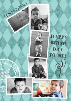 Te gekke hippe uitnodiging fotokaart 1 jaar. Een grote 1 met prachtige foto's van jouw Zoon of dochter! Origineel en hip... Super ontwerp van Zus&ik