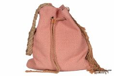 Handwoven bucket bag, mother's day gift, cotton handbag, pink hand loomed bag, gift for her, pink pouch bag, bohemian style, women's bag by HandwovenByT on Etsy