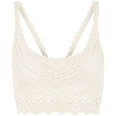 Cream Crochet Bralet ($11) ❤ liked on Polyvore featuring tops, bralet, crop top, lingerie, tanks, white sleeveless top, cream crop top, scoop neck top and cream crochet top