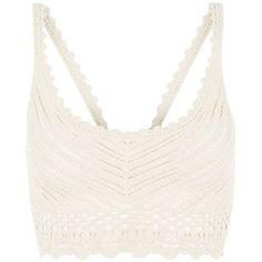 Cream Crochet Bralet (155.430 IDR) ❤ liked on Polyvore featuring tops, bralet, crop top, lingerie, tanks, sleeveless crop top, scoop neck crop top, bralette tops and bralette crop top