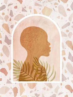 AFRICAN GIRL AND TERRAZZO PATTERN - urbanarts Canvas Frame, Canvas Wall Art, Canvas Prints, Orange Home Decor, African Girl, Mid Century Modern Art, Modern Art Prints, Wall Patterns, Pattern Art
