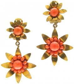 Victorian Silver Gilt & Coral Star Earrings
