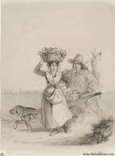 Ekman, Anders Talonpoikaistyttö kori päänpäällä sekä poika koiran vetämien maitokärryjen kanssa, 1855