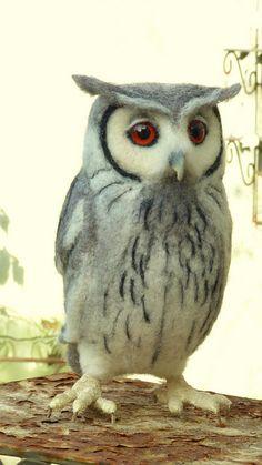 Owl ( white faced scops owl) by helenpriem Felt Animals, Crochet Animals, Needle Felted Owl, Wool Felting, Felt Birds, Owl Felt, Felt Roses, Needle Felting Tutorials, Owl Pictures