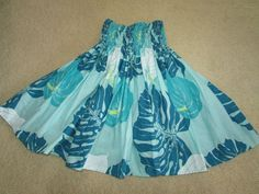 "TURQUOISE OCEAN BLUE HAWAIIAN PAU PA'U HULA DANCE SKIRT FOR GIRL 22.5"" LONG #hulaskirt"