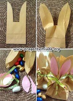Coelhinhos porta guloseimas com pacotes de papel | Pra Gente Miúda
