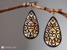 Arabesque Moorish earrings | cutting paper earrings with faux gold leaf | by Paper Leaf