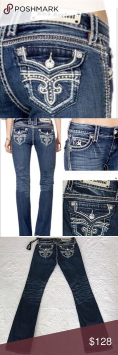 """Rock revival Noelle jeans Brand new with tag. Rise 8@, inseam 35"""", waist measures 34"""" around laying flat. 98% cotton 2% elastane. No trades 🌷 Rock Revival Jeans Boot Cut"""