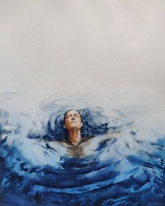Calm water #aquarelle #aquarell #akvarel #acuarelle #acuarelas🎨 Afro, Watercolor Paintings, Waves, Calm, Outdoor, Paper, Outdoors, Water Colors, Ocean Waves