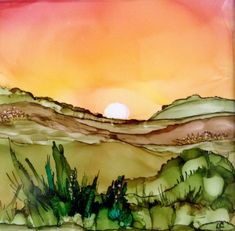 Desert sunset alcohol ink on tile by Lin Crocco