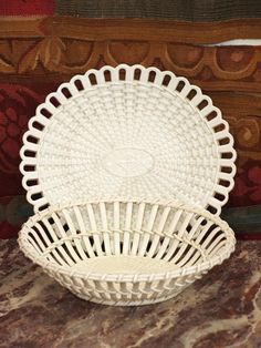 Pair of French Creil Creamware Baskets with underplates image 7