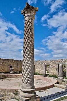 Twisted corinthian column, House of the Columns, Volubilis, Morocco