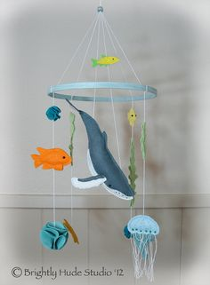 Humpback Whale Modern Felt Mobile by BrightlyHude on Etsy, $100.00