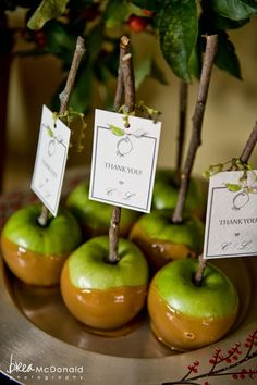 (Mini) caramel apple escort cards: must!!!should be wrapped in cellophane...but great idea!