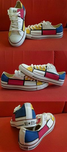 Zippertraavel all star converse mondrian-inspired. Painted Converse, Painted Canvas Shoes, Painted Sneakers, Hand Painted Shoes, Art Teacher Outfits, Curvy Petite Fashion, Fashion Mode, Runway Fashion, Fashion Trends