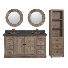 60-inch Marble Top Double Sink Rustic Bathroom Vanity With Matching Daul Wall…