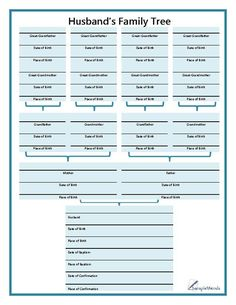 This bible-style family tree chart is used for documenting four generations of a husband& genealogy. Genealogy Forms, Genealogy Sites, Genealogy Chart, Family Genealogy, Genealogy Humor, Genealogy Search, Family Tree Research, Family Tree Chart, Family Trees