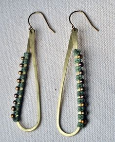 Teardrop Hoops Sage and Brass by AMiRAjewelry on Etsy, $55.00