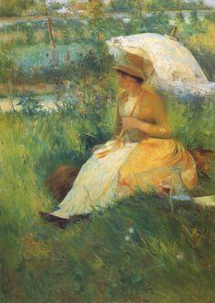 Laureano Barrau ~ Lady with Parasol ~ (Spanish: 1863-1957)