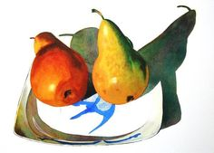 Sarah Bent | WATERCOLOR | Fish Dish, Two Pears