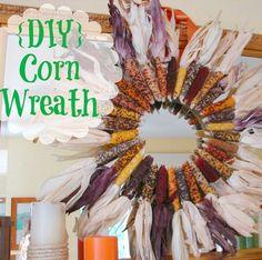 DIY dried corn wreath for fall decorating
