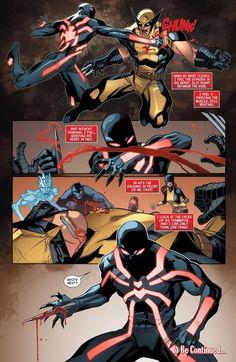 That time Kaine stabbed Wolverine's heart (Scarlet Spider Arte Dc Comics, Marvel Comics Art, Marvel Heroes, Comic Manga, Manga Comics, Comic Book Characters, Marvel Characters, Scarlet Spider Kaine, Spiderman Art