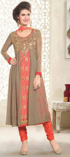 445750: Beige and Brown,Orange color family stitched Party Wear Salwar Kameez .