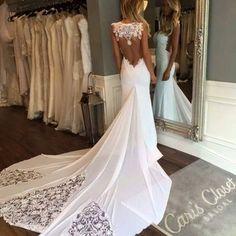 A273 chapel train long wedding dresses, lace appliques long chiffon prom gowns, sweetheart wedding dresses 2016