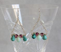 Blue Opal Turquoise Pink Tourmaline Drop Earrings, Sterling Silver Wire Wrap Woven,  Handmade Gemstone Bead Jewelry, Multi Gem Statement by AdornmentsAndFrills on Etsy