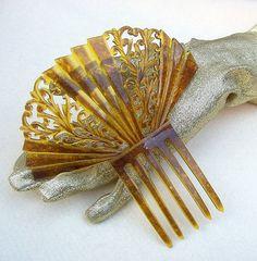 Vintage hair comb, amber Art Deco Spanish fan shape    SOLD  @BarbaraAnne