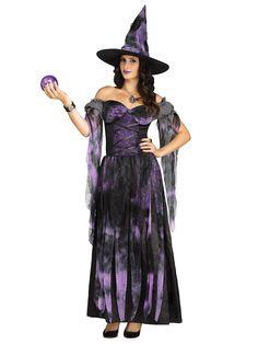Wahrsagende Hexe Damenkostüm Zauberin lila-schwarz. Aus der Kategorie Halloween…