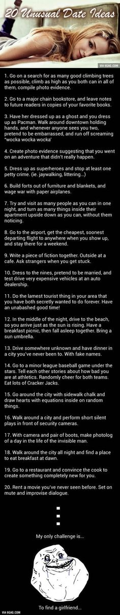 Challenge Accepted: 20 Unusual But Awesome Date Ideas - Date night ideas Dating Quotes, Dating Advice, Dating Humor, Unusual Date, Cute Date Ideas, Gift Ideas, Whatever Forever, Love Is In The Air, Romantic Dates