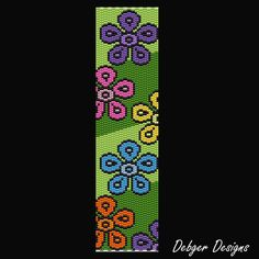 Green Meadows Beaded Peyote Bracelet Cuff by FUNPATTERNDESIGNS