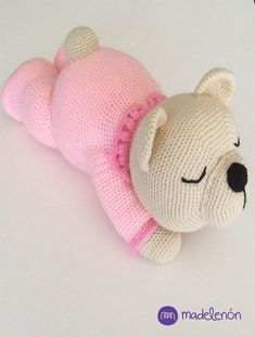 Sleepy Bear amigurumi pattern by MadelenonKids love to play with the toy Crochet Teddy, Crochet Bear, Cute Crochet, Crochet Dolls, Crochet Animal Patterns, Stuffed Animal Patterns, Amigurumi Patterns, Knitting Projects, Crochet Projects