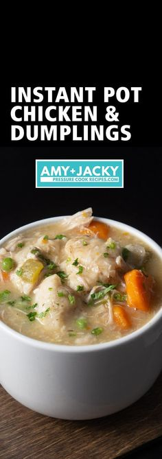 Make this Satisfying Instant Pot Chicken and Dumplings Recipe (Pressure Cooker Chicken and Dumplings). Classic hearty comfort food with tender chicken and fluffy homemade dumplings in aromatic chicken broth. An all-time family favorite! Crockpot Chicken And Dumplings, Homemade Dumplings, Dumplings For Soup, Dumpling Recipe, Chicken Dumpling Soup, Pressure Cooker Chicken, Instant Pot Pressure Cooker, Pressure Cooker Recipes, Pressure Cooking