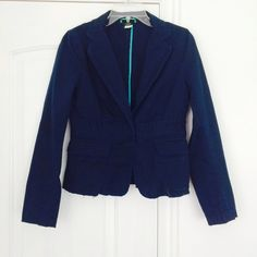 J. Crew jacket Cotton jacket with raw unfinished hemline in faded navy (that's the original color of the jacket, it's not from use). Single button closure. Front pockets with slaps. Size 8 J. Crew Jackets & Coats