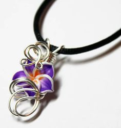 Perfume Pendant - PREMADE - Aromatherapy Wire Wrapped Violet Polymer Clay Tropical Plumeria Flower by Nixcreations, $20.00