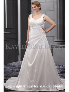 Elegant Sequins Ruffle Straps Court Train Plus Size Wedding Dress