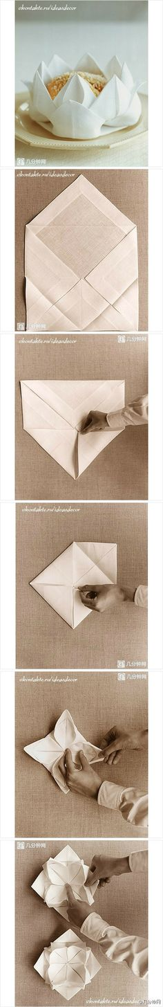 Lotus Serviette Folding :  SERVILLETAS on Pinterest  Napkin folding, Napkins and Folding napkins