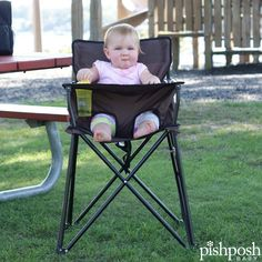Picnic time! Ciao Baby high chair is lightweight, folds compactly, holds kids until age 3, and comes in 11 colors. Clear vinyl tray cleans easily. No assembly required! From just $65.75.  http://www.pishposhbaby.com/ciao--baby-portable-high-chair.html