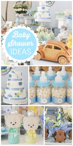 This blue baby boy shower has candy filled bottles, teddy bears and a cute cake… Idee Baby Shower, Fiesta Baby Shower, Shower Bebe, Baby Shower Cakes, Baby Boy Shower, Baby Shower Gifts, Baby Party, Baby Shower Parties, Baby Shower Themes